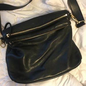 Margot black leather crossbody